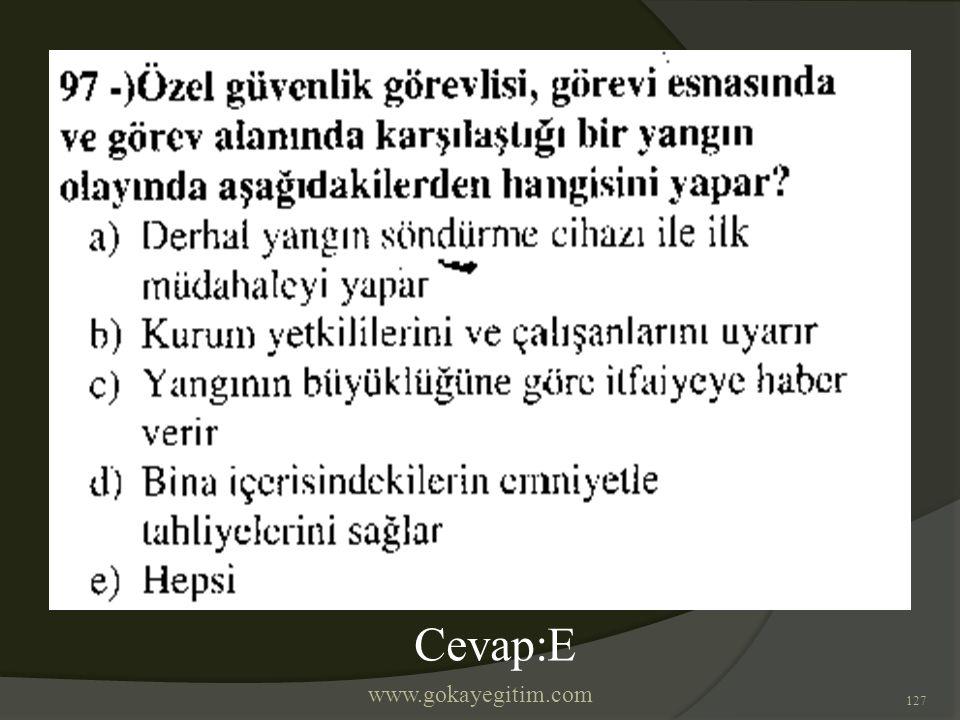 www.gokayegitim.com 127 Cevap:E