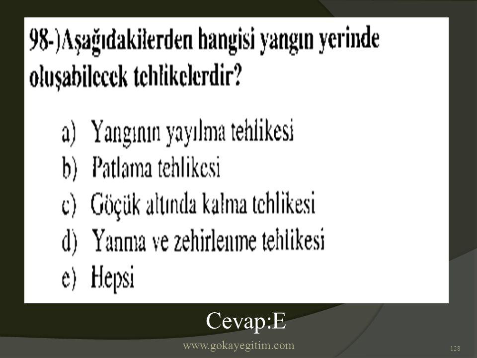 www.gokayegitim.com 128 Cevap:E