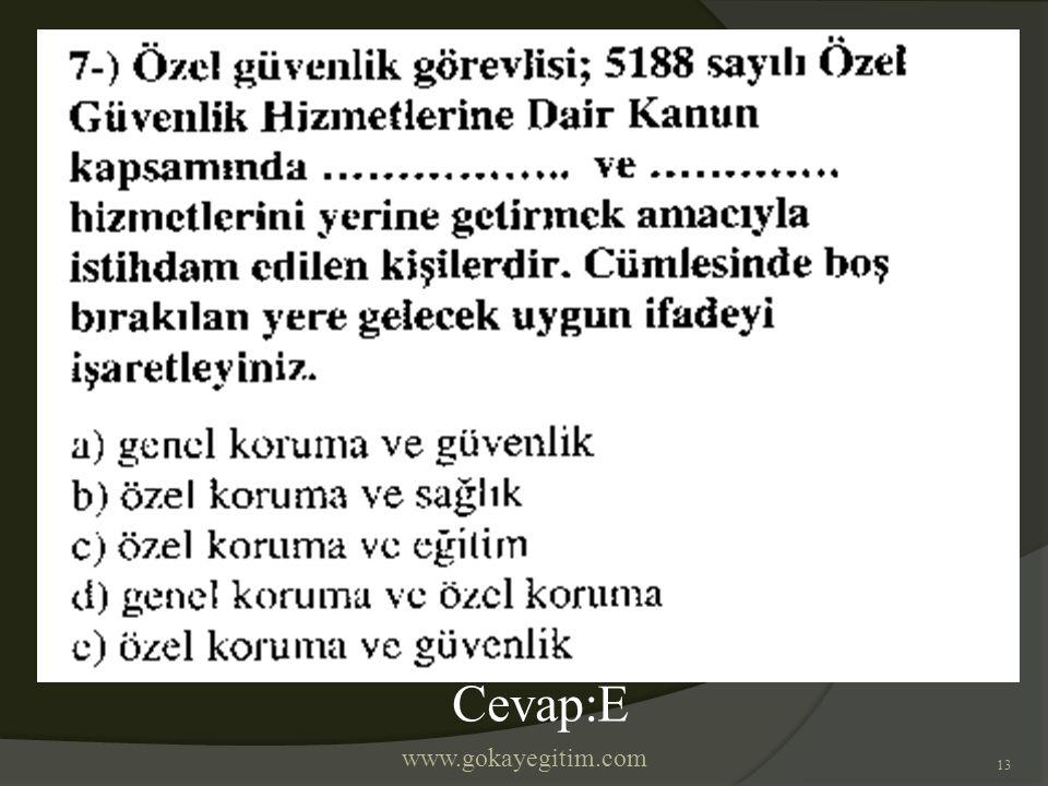 www.gokayegitim.com 13 Cevap:E