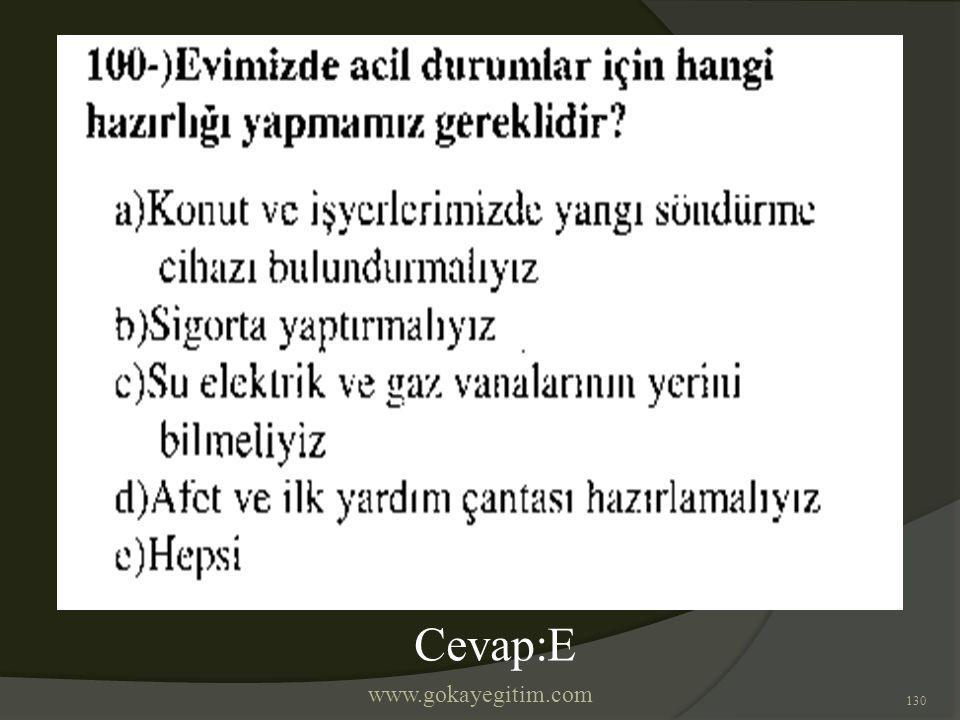 www.gokayegitim.com 130 Cevap:E
