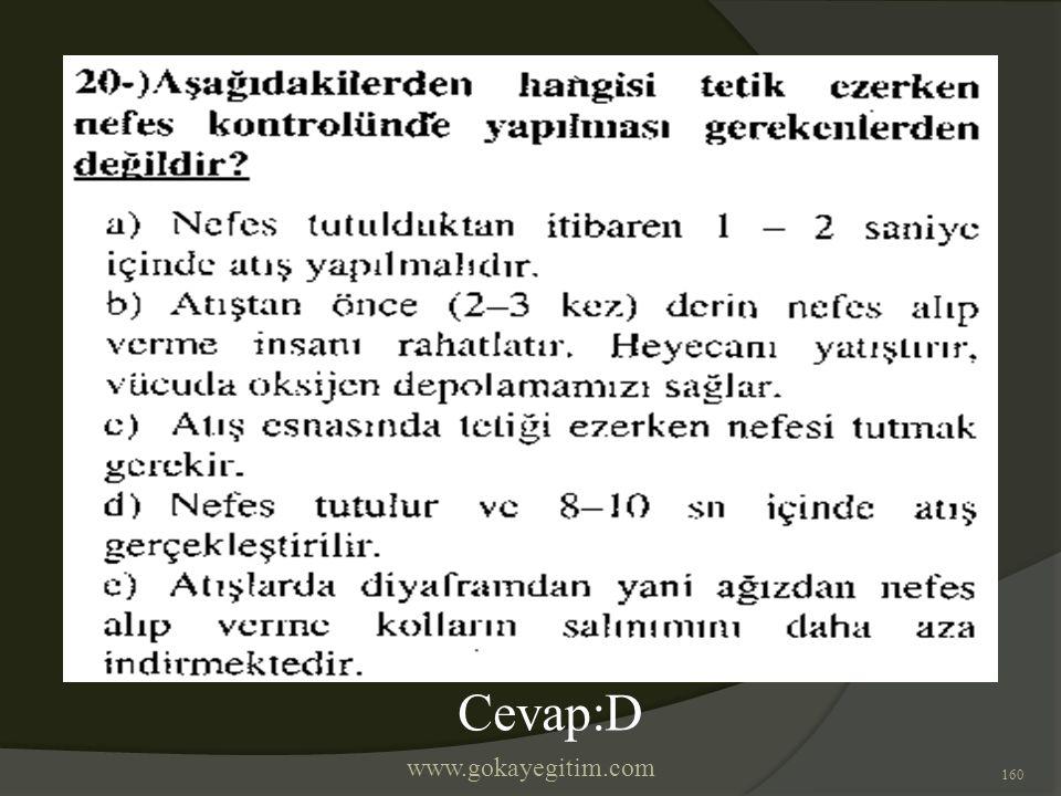 www.gokayegitim.com 160 Cevap:D