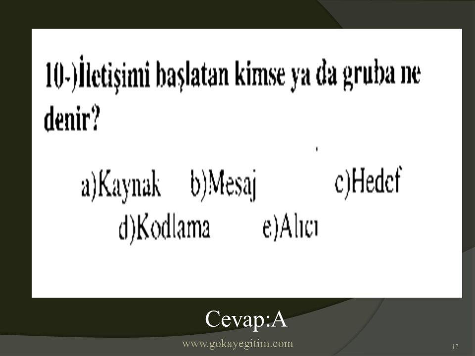 www.gokayegitim.com 17 Cevap:A