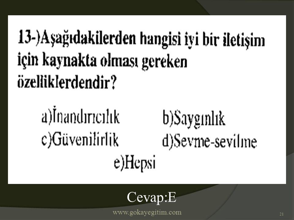 www.gokayegitim.com 21 Cevap:E