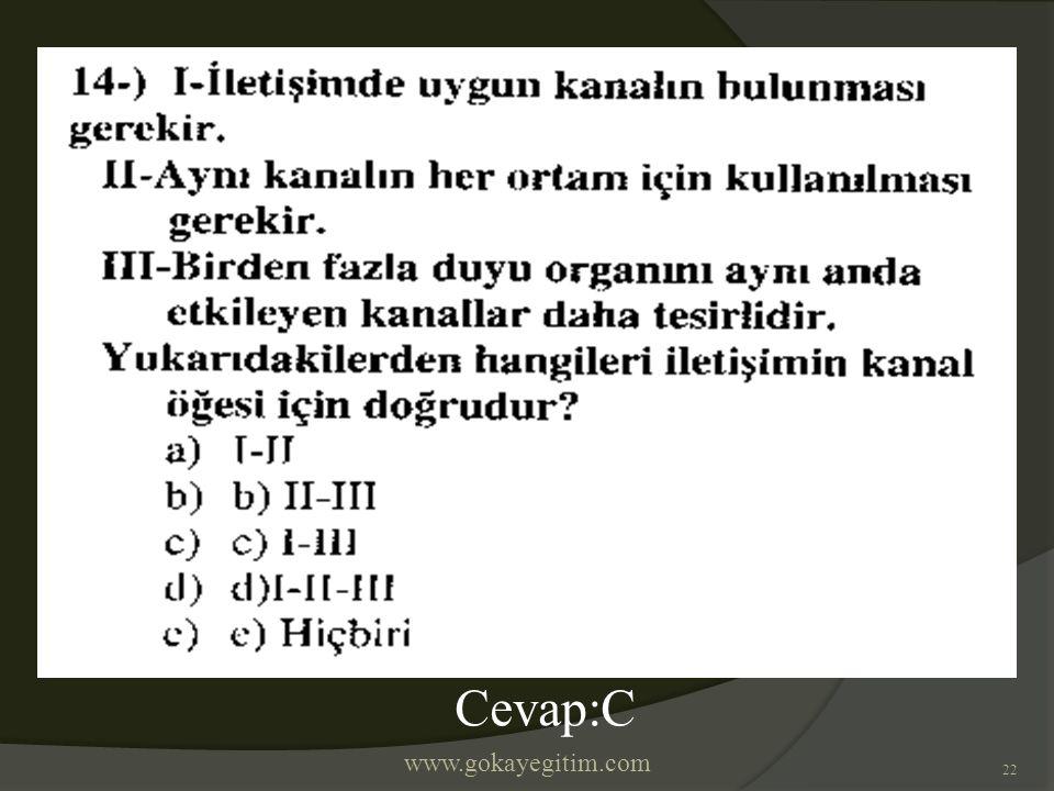 www.gokayegitim.com 22 Cevap:C