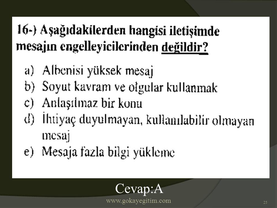 www.gokayegitim.com 25 Cevap:A