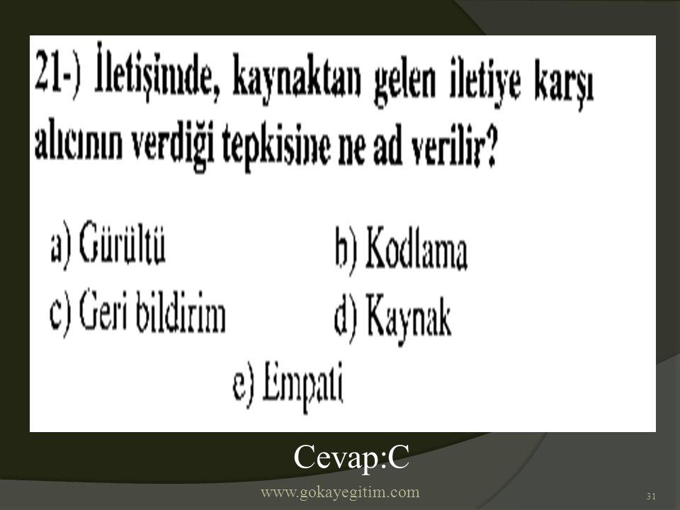 www.gokayegitim.com 31 Cevap:C