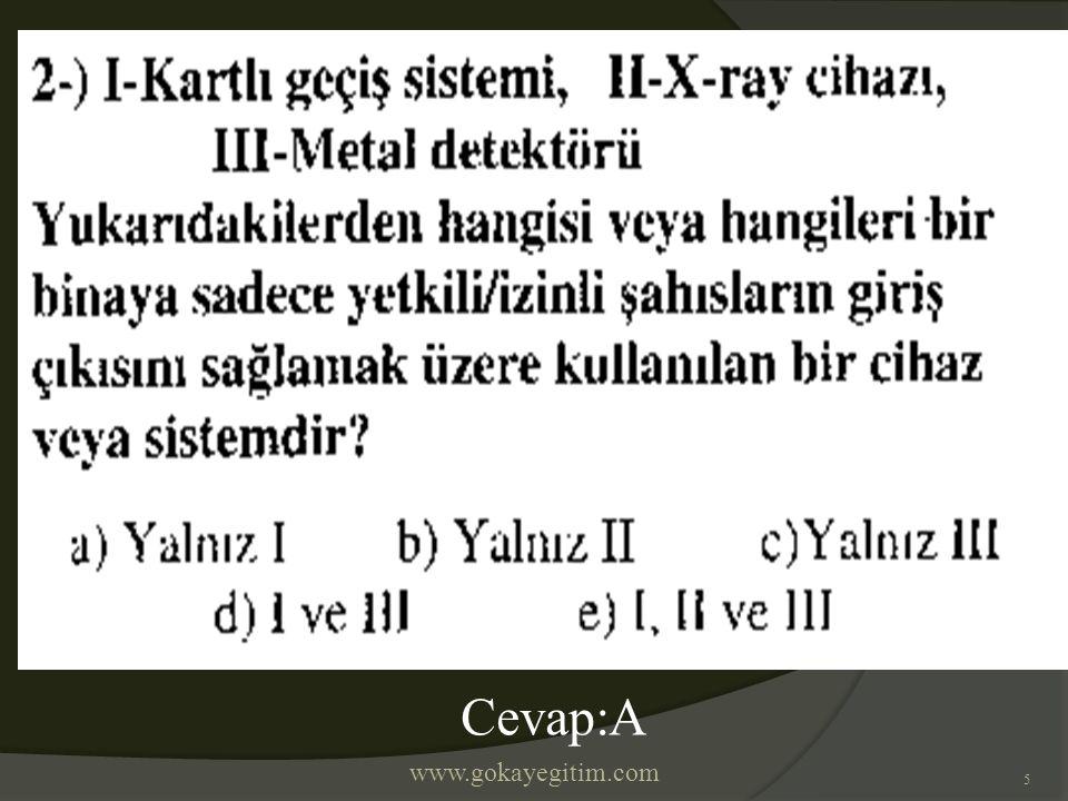 www.gokayegitim.com 5 Cevap:A