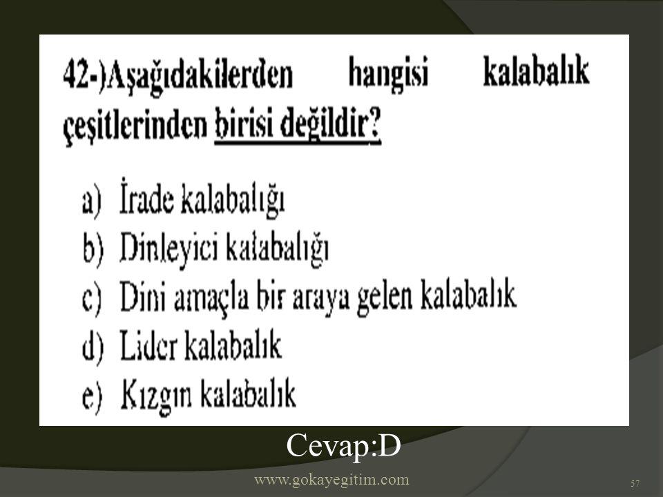 www.gokayegitim.com 57 Cevap:D
