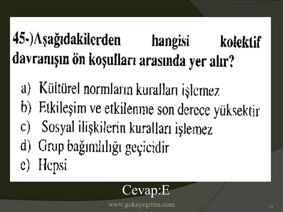 www.gokayegitim.com 61 Cevap:E