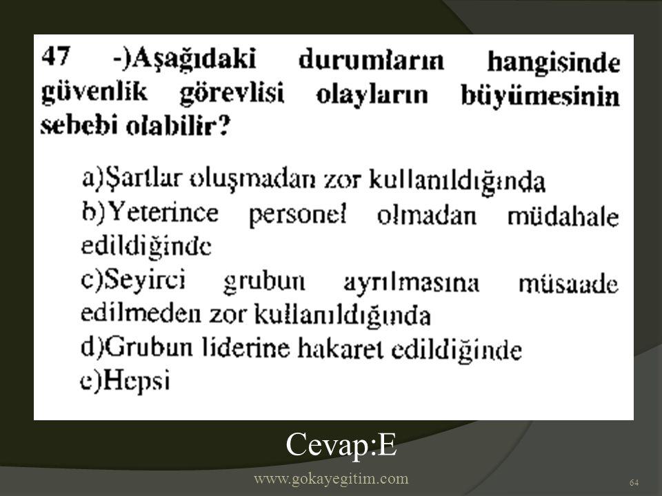 www.gokayegitim.com 64 Cevap:E