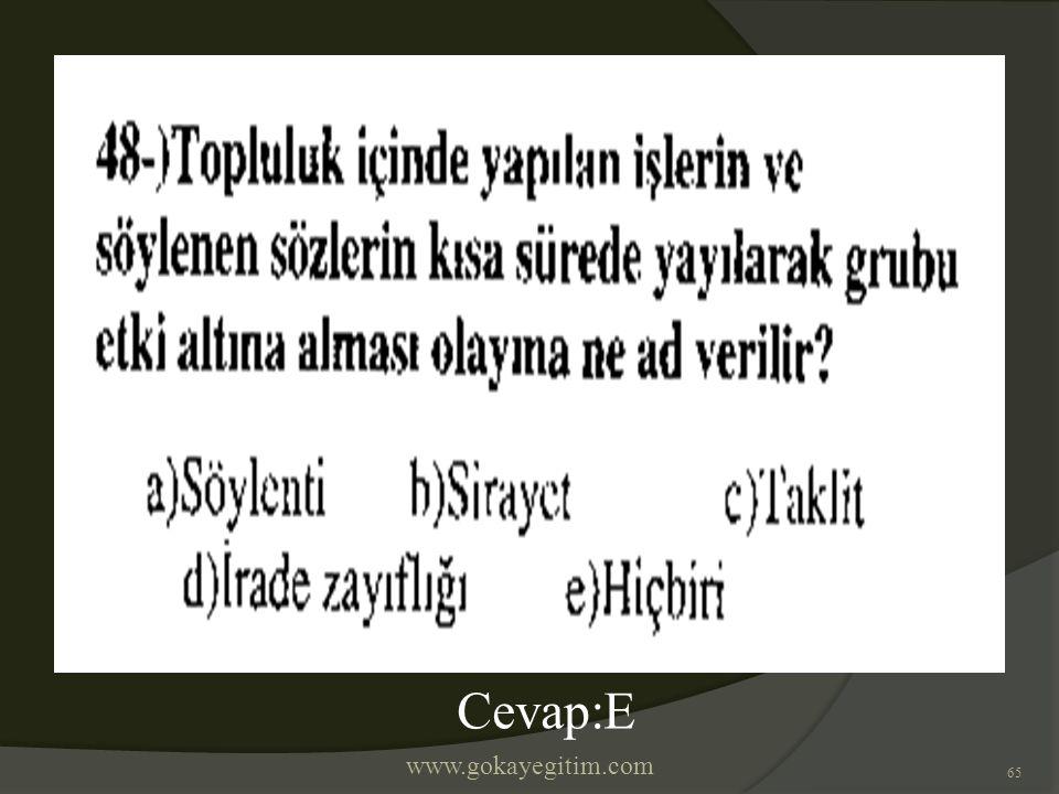 www.gokayegitim.com 65 Cevap:E