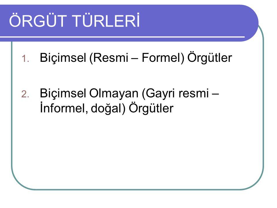 ÖRGÜT TÜRLERİ 1. Biçimsel (Resmi – Formel) Örgütler 2. Biçimsel Olmayan (Gayri resmi – İnformel, doğal) Örgütler