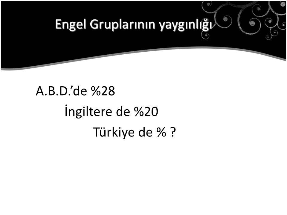 A.B.D.'de %28 İngiltere de %20 Türkiye de % ? Engel Gruplarının yaygınlığı