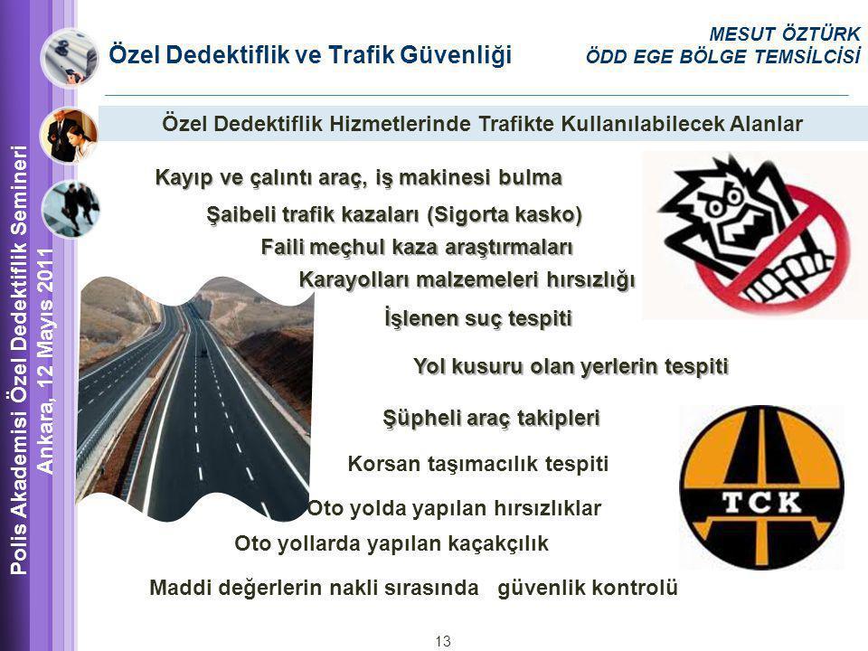 Özel Dedektiflik ve Trafik Güvenliği Polis Akademisi Özel Dedektiflik Semineri Ankara, 12 Mayıs 2011 MESUT ÖZTÜRK ÖDD EGE BÖLGE TEMSİLCİSİ Özel Dedektiflik Hizmetlerinde Trafikte Kullanılabilecek Alanlar Kayıp ve çalıntı araç, iş makinesi bulma Şaibeli trafik kazaları (Sigorta kasko) Faili meçhul kaza araştırmaları Karayolları malzemeleri hırsızlığı İşlenen suç tespiti Yol kusuru olan yerlerin tespiti Şüpheli araç takipleri Oto yolda yapılan hırsızlıklar Korsan taşımacılık tespiti Oto yollarda yapılan kaçakçılık Maddi değerlerin nakli sırasında güvenlik kontrolü 13