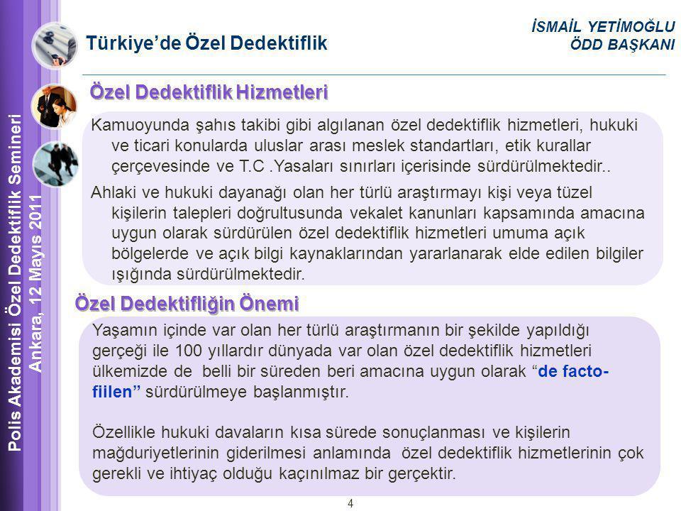 Türkiye'de Özel Dedektiflik Kamuoyunda şahıs takibi gibi algılanan özel dedektiflik hizmetleri, hukuki ve ticari konularda uluslar arası meslek standartları, etik kurallar çerçevesinde ve T.C.Yasaları sınırları içerisinde sürdürülmektedir..