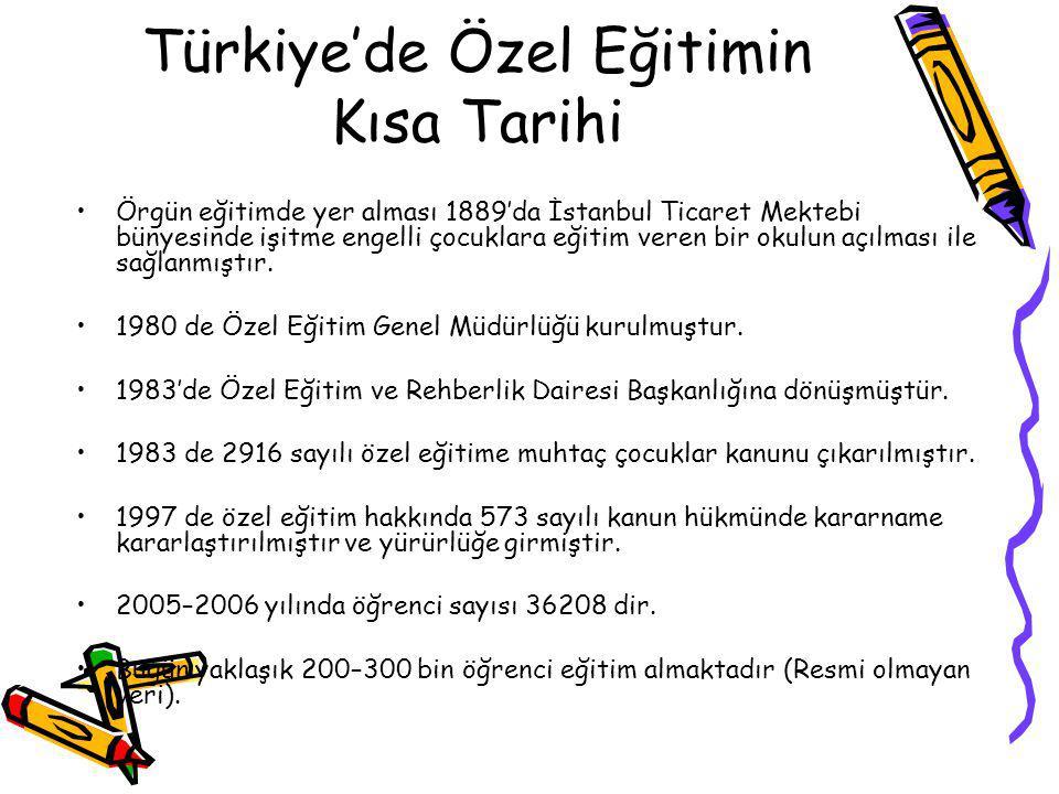 Türkiye'de Özel Eğitimin Kısa Tarihi Örgün eğitimde yer alması 1889'da İstanbul Ticaret Mektebi bünyesinde işitme engelli çocuklara eğitim veren bir okulun açılması ile sağlanmıştır.