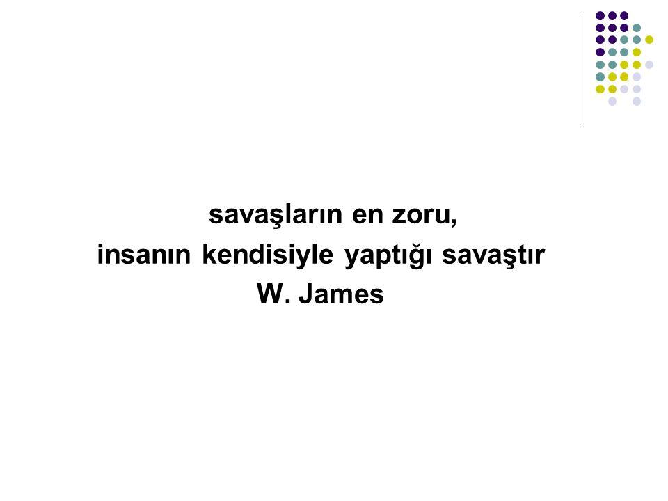 savaşların en zoru, insanın kendisiyle yaptığı savaştır W. James