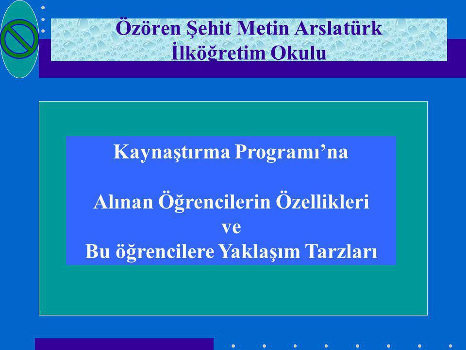 Özören Şehit Metin Arslatürk İlköğretim Okulu Kaynaştırma Programı'na Alınan Öğrencilerin Özellikleri ve Bu öğrencilere Yaklaşım Tarzları