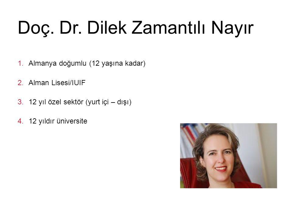 Doç. Dr. Dilek Zamantılı Nayır 1.Almanya doğumlu (12 yaşına kadar) 2.Alman Lisesi/IUIF 3.12 yıl özel sektör (yurt içi – dışı) 4.12 yıldır üniversite