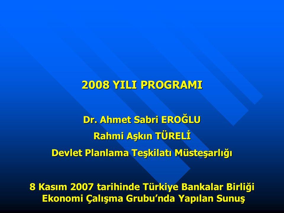 2008 YILI PROGRAMI Dr. Ahmet Sabri EROĞLU Rahmi Aşkın TÜRELİ Devlet Planlama Teşkilatı Müsteşarlığı 8 Kasım 2007 tarihinde Türkiye Bankalar Birliği Ek