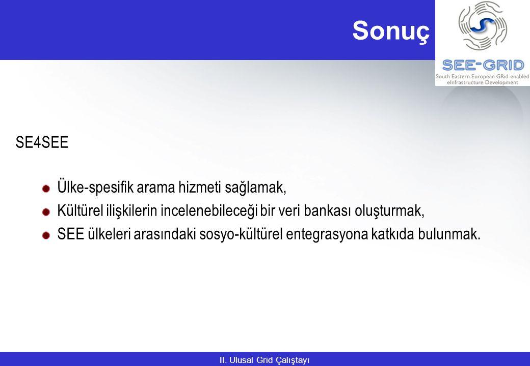 Sonuç SE4SEE Ülke-spesifik arama hizmeti sağlamak, Kültürel ilişkilerin incelenebileceği bir veri bankası oluşturmak, SEE ülkeleri arasındaki sosyo-kültürel entegrasyona katkıda bulunmak.