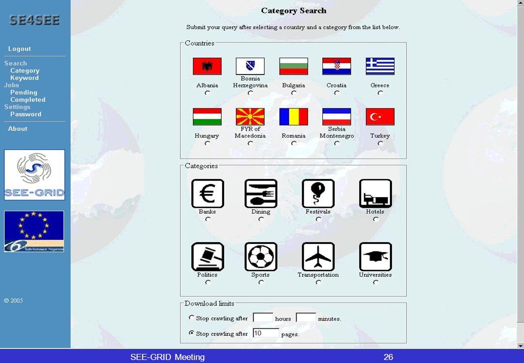 SEE-GRID Meeting26 (Backup) SE4SEE Web Portal