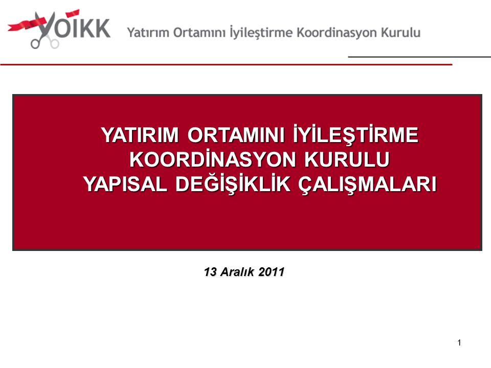 2 16 Eylül 2011 21 Eylül 2011 27 Eylül 2011 Ekim-Kasım 2011 Ekonomi Bakanı Sayın Zafer Çağlayan'a Sunuş Yönlendirme Komitesi Toplantısı 16.