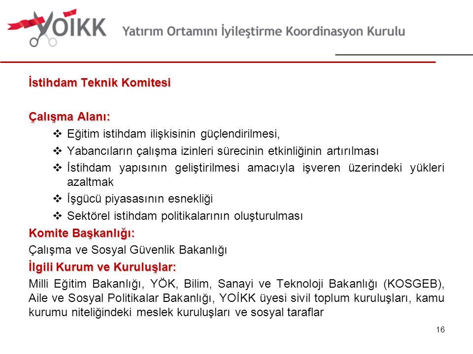 İstihdam Teknik Komitesi Çalışma Alanı:  Eğitim istihdam ilişkisinin güçlendirilmesi,  Yabancıların çalışma izinleri sürecinin etkinliğinin artırılm
