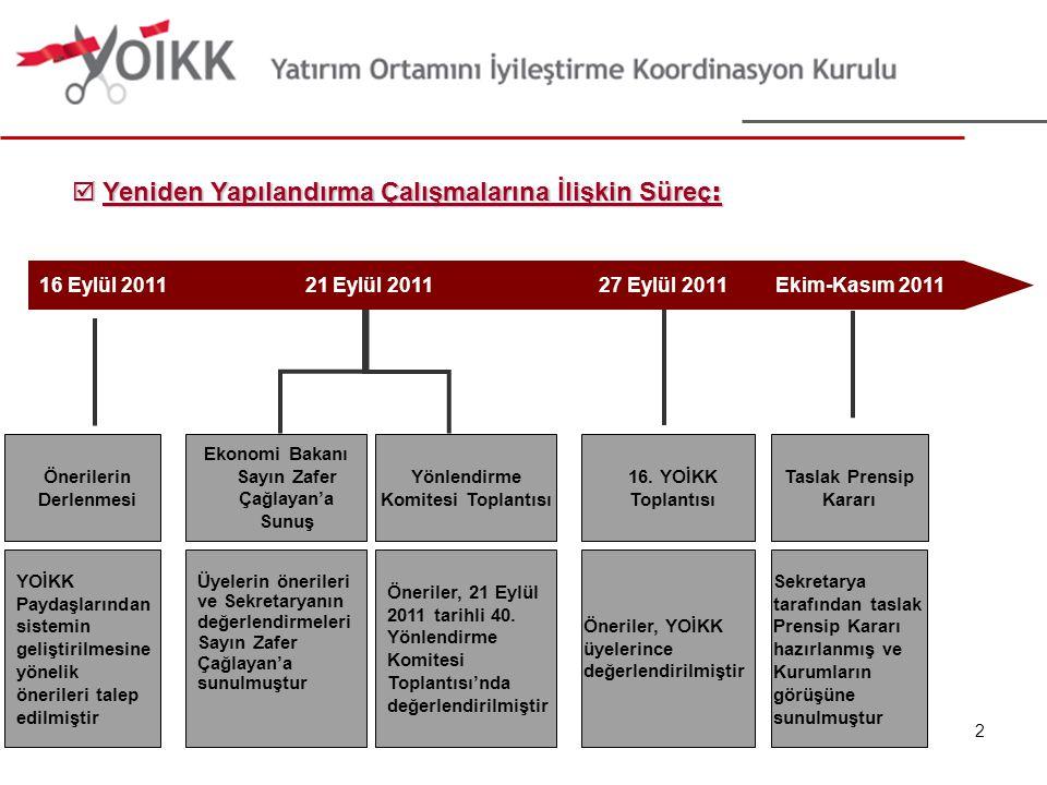 Finansmana Erişim ve Girişimcilik Çalışma Alanı:  Girişimciliğin yaygınlaştırılması  Firmaların finansmana erişim imkanlarının kolaylaştırılması  Kredi garanti sistemi, girişim sermayesi, yatırım ortaklıkları gibi alternatif finansman kaynaklarının geliştirilmesi  Proje finansmanı alanında belediyeler ile firmalar arasında iletişim ağının merkezileştirilmesi  KOBİ'lere yönelik desteklerin ve danışmanlık sisteminin geliştirilmesi  Türkiye'deki firmaların büyümesinin önündeki idari engellerin kaldırılması Komite Başkanlığı: Bilim, Sanayi ve Teknoloji Bakanlığı, Hazine Müsteşarlığı (Eş Başkanlık) İlgili Kurum ve Kuruluşlar: Maliye Bakanlığı, KOSGEB, SPK, YOİKK üyesi özel sektör temsilcileri, 23