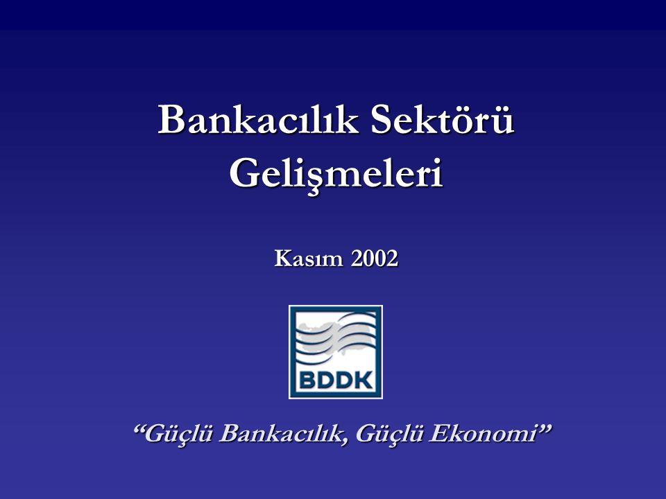 Bankacılık Sektörü Gelişmeleri Kasım 2002 Güçlü Bankacılık, Güçlü Ekonomi