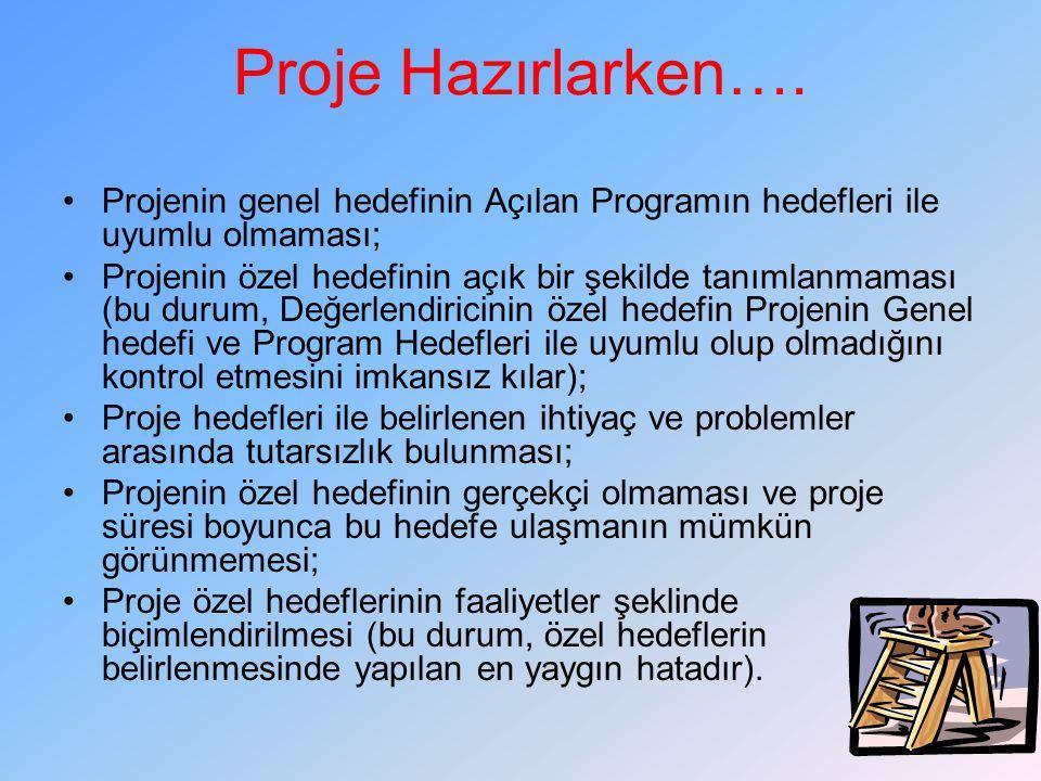 Projenin genel hedefinin Açılan Programın hedefleri ile uyumlu olmaması; Projenin özel hedefinin açık bir şekilde tanımlanmaması (bu durum, Değerlendiricinin özel hedefin Projenin Genel hedefi ve Program Hedefleri ile uyumlu olup olmadığını kontrol etmesini imkansız kılar); Proje hedefleri ile belirlenen ihtiyaç ve problemler arasında tutarsızlık bulunması; Projenin özel hedefinin gerçekçi olmaması ve proje süresi boyunca bu hedefe ulaşmanın mümkün görünmemesi; Proje özel hedeflerinin faaliyetler şeklinde biçimlendirilmesi (bu durum, özel hedeflerin belirlenmesinde yapılan en yaygın hatadır).