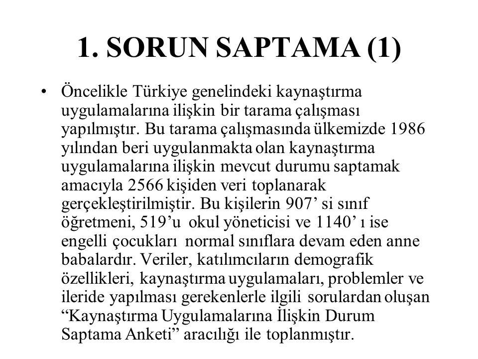 1. SORUN SAPTAMA (1) Öncelikle Türkiye genelindeki kaynaştırma uygulamalarına ilişkin bir tarama çalışması yapılmıştır. Bu tarama çalışmasında ülkemiz