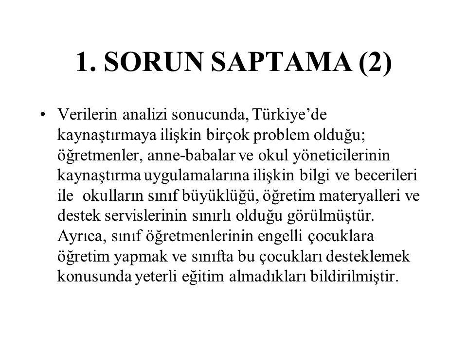 1. SORUN SAPTAMA (2) Verilerin analizi sonucunda, Türkiye'de kaynaştırmaya ilişkin birçok problem olduğu; öğretmenler, anne-babalar ve okul yöneticile