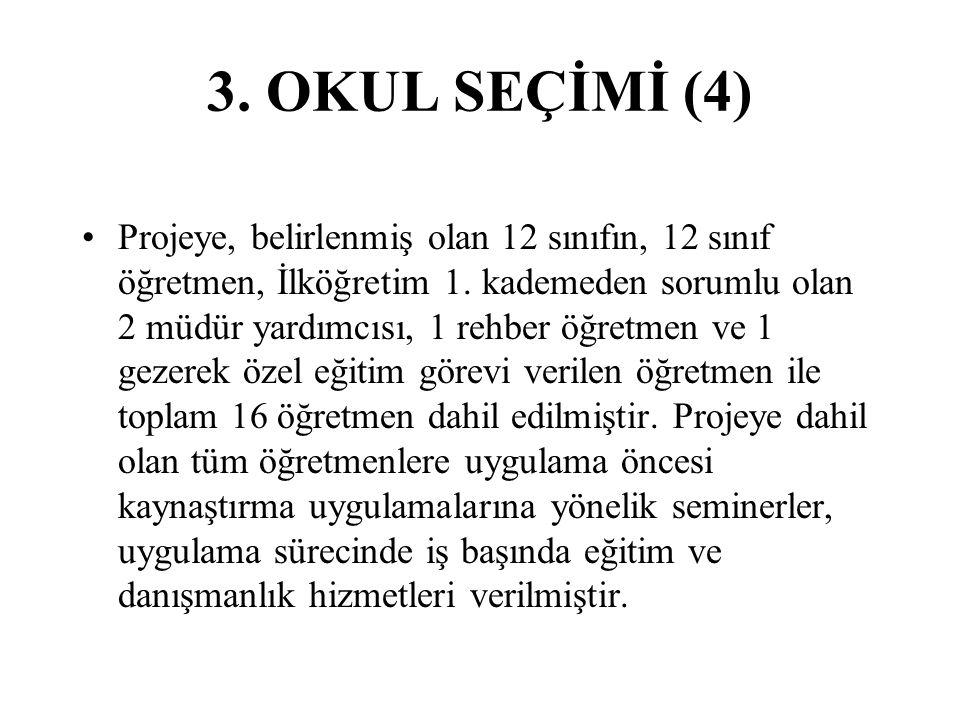 3.OKUL SEÇİMİ (4) Projeye, belirlenmiş olan 12 sınıfın, 12 sınıf öğretmen, İlköğretim 1.