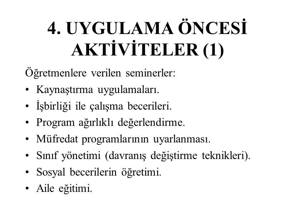 4.UYGULAMA ÖNCESİ AKTİVİTELER (1) Öğretmenlere verilen seminerler: Kaynaştırma uygulamaları.