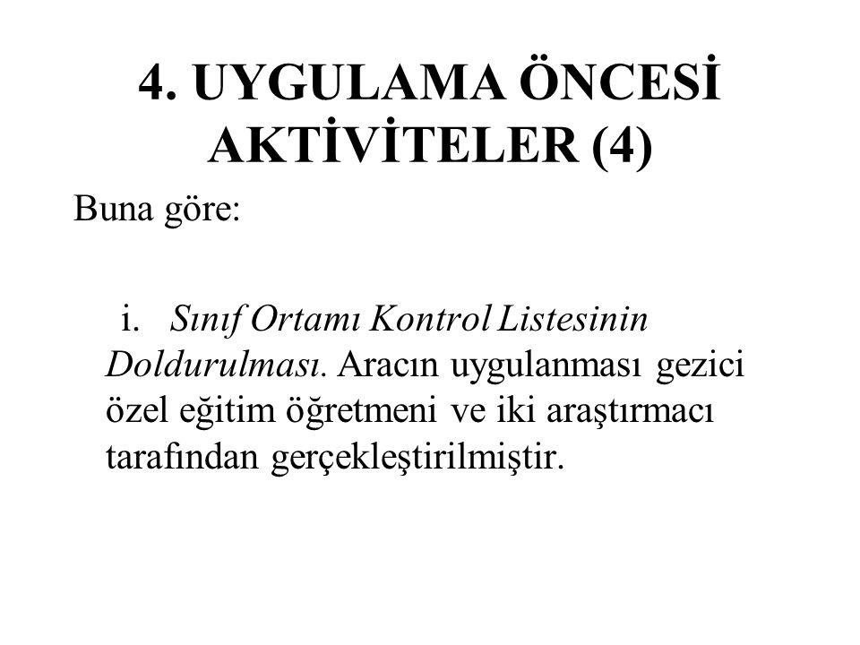 4.UYGULAMA ÖNCESİ AKTİVİTELER (4) Buna göre: i. Sınıf Ortamı Kontrol Listesinin Doldurulması.