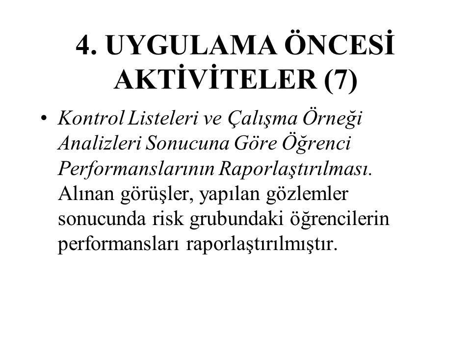 4. UYGULAMA ÖNCESİ AKTİVİTELER (7) Kontrol Listeleri ve Çalışma Örneği Analizleri Sonucuna Göre Öğrenci Performanslarının Raporlaştırılması. Alınan gö