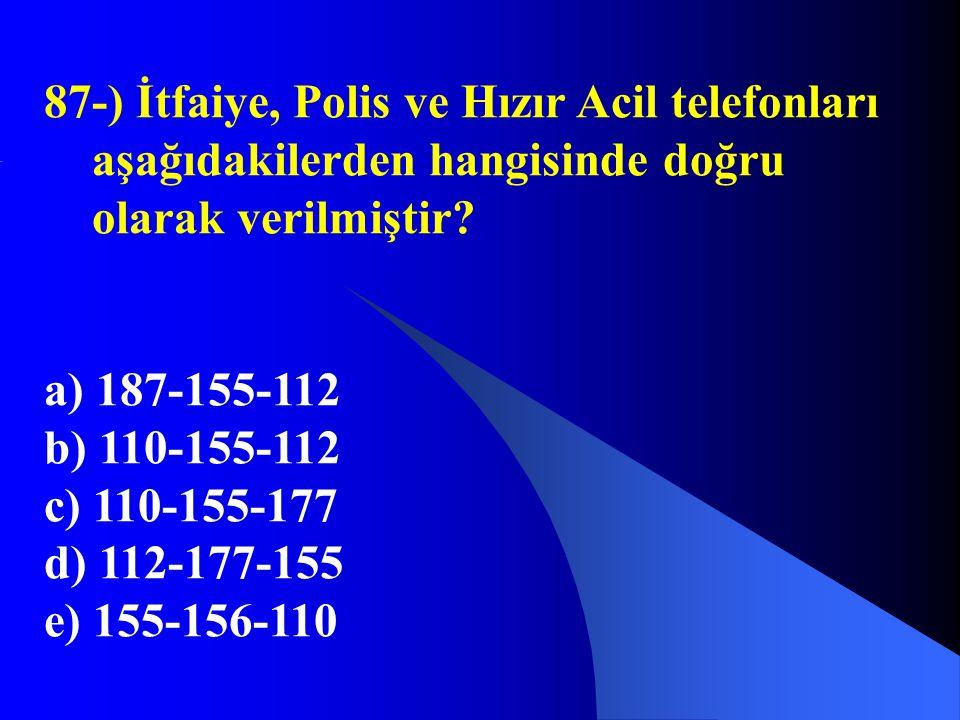 87-) İtfaiye, Polis ve Hızır Acil telefonları aşağıdakilerden hangisinde doğru olarak verilmiştir? a) 187-155-112 b) 110-155-112 c) 110-155-177 d) 112