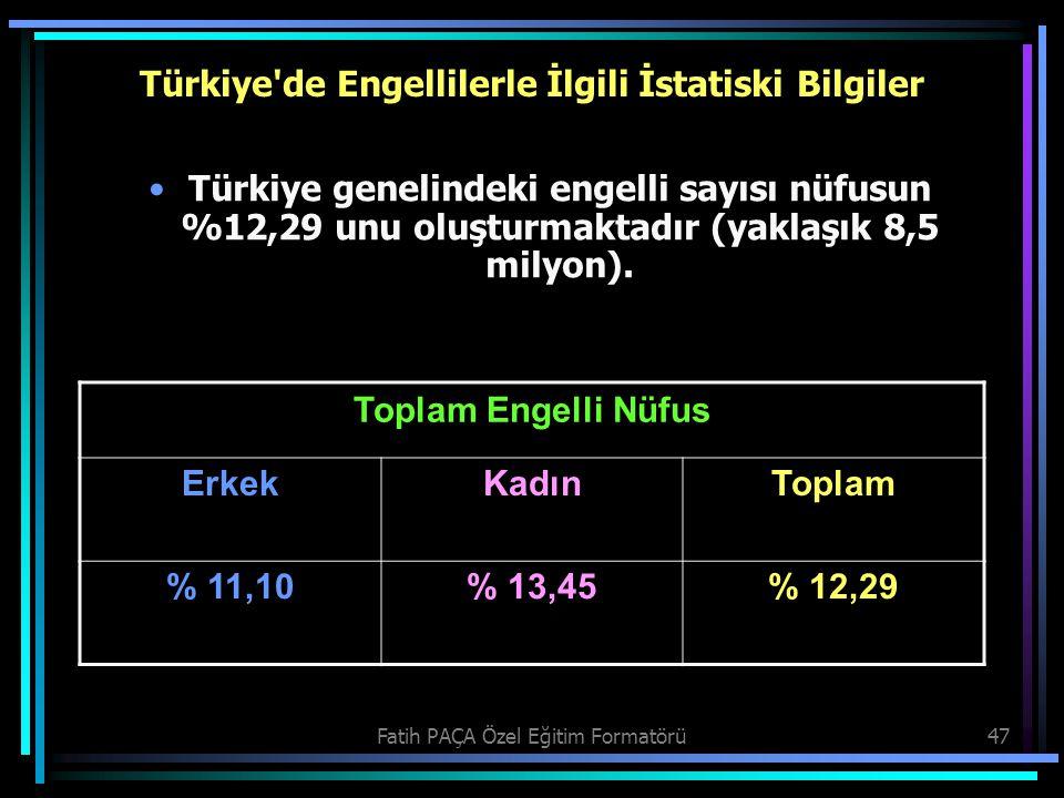Fatih PAÇA Özel Eğitim Formatörü47 Türkiye'de Engellilerle İlgili İstatiski Bilgiler Türkiye genelindeki engelli sayısı nüfusun %12,29 unu oluşturmakt