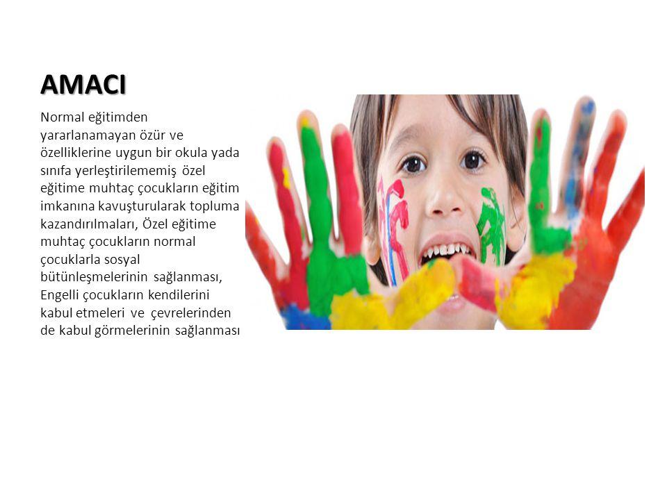AMACI Normal eğitimden yararlanamayan özür ve özelliklerine uygun bir okula yada sınıfa yerleştirilememiş özel eğitime muhtaç çocukların eğitim imkanı