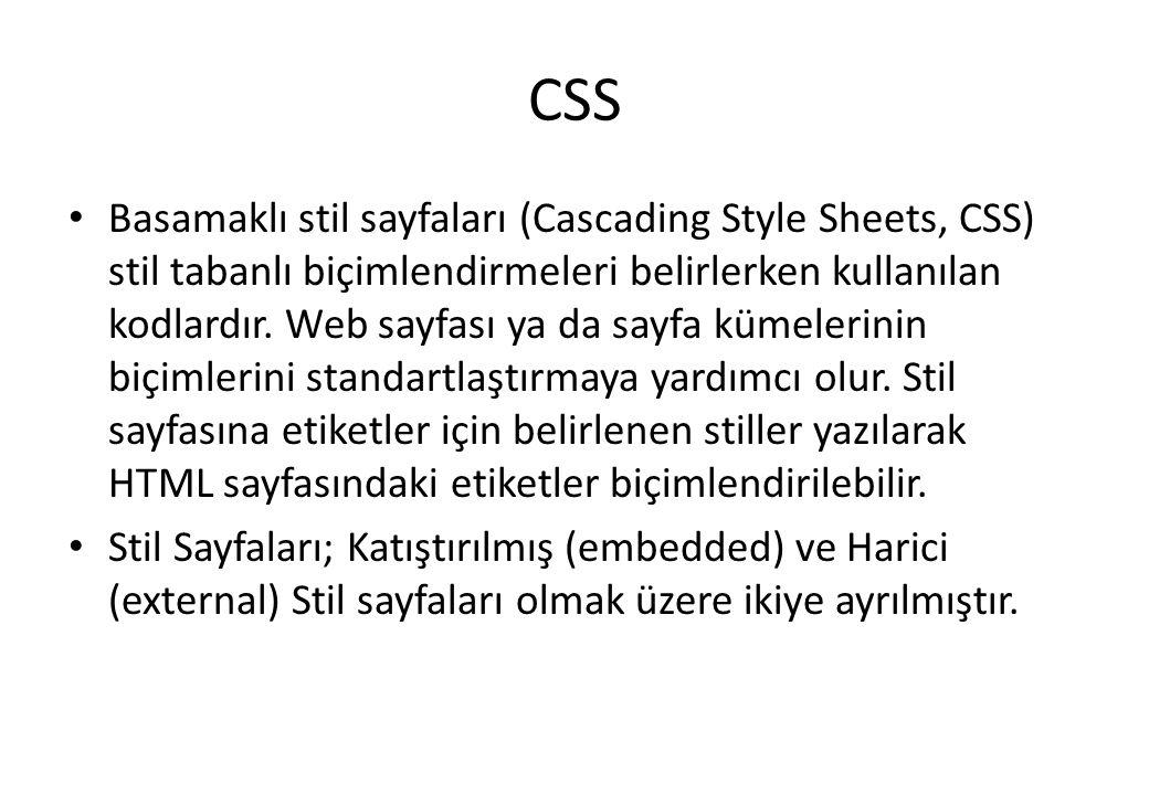 CSS Basamaklı stil sayfaları (Cascading Style Sheets, CSS) stil tabanlı biçimlendirmeleri belirlerken kullanılan kodlardır. Web sayfası ya da sayfa kü