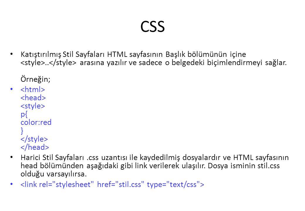 CSS Katıştırılmış Stil Sayfaları HTML sayfasının Başlık bölümünün içine.. arasına yazılır ve sadece o belgedeki biçimlendirmeyi sağlar. Örneğin; p{ co