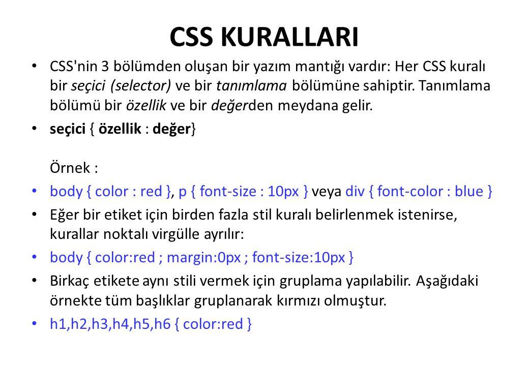 CSS KURALLARI CSS'nin 3 bölümden oluşan bir yazım mantığı vardır: Her CSS kuralı bir seçici (selector) ve bir tanımlama bölümüne sahiptir. Tanımlama b