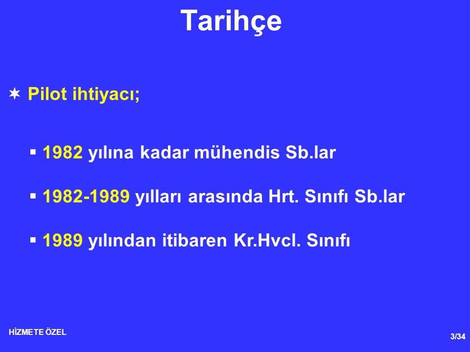 3/34 HİZMETE ÖZEL Tarihçe  Pilot ihtiyacı;  1982 yılına kadar mühendis Sb.lar  1982-1989 yılları arasında Hrt. Sınıfı Sb.lar  1989 yılından itibar