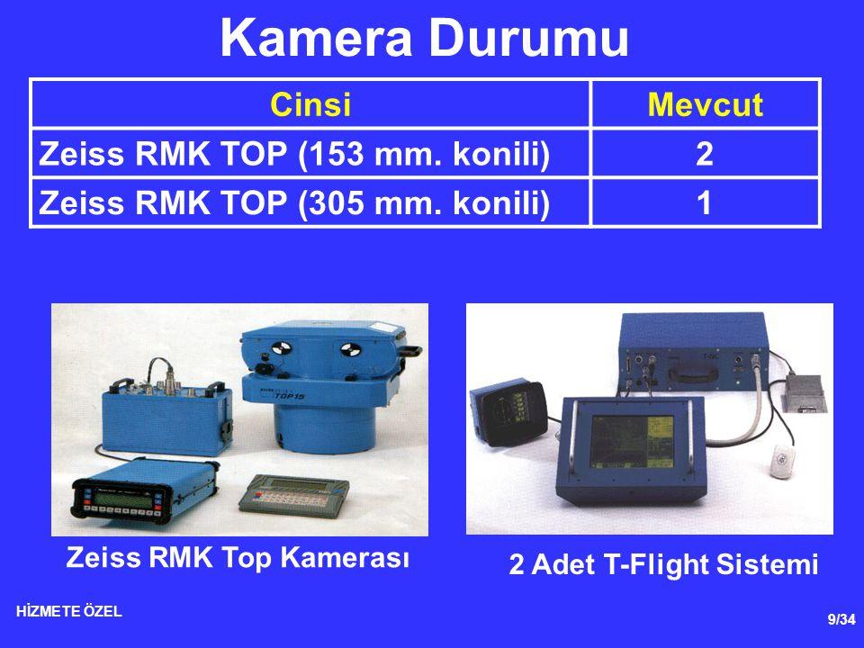 9/34 HİZMETE ÖZEL CinsiMevcut Zeiss RMK TOP (153 mm. konili)2 Zeiss RMK TOP (305 mm. konili)1 Kamera Durumu Zeiss RMK Top Kamerası 2 Adet T-Flight Sis