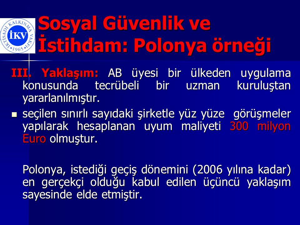 Sosyal Güvenlik ve İstihdam: Polonya örneği III.