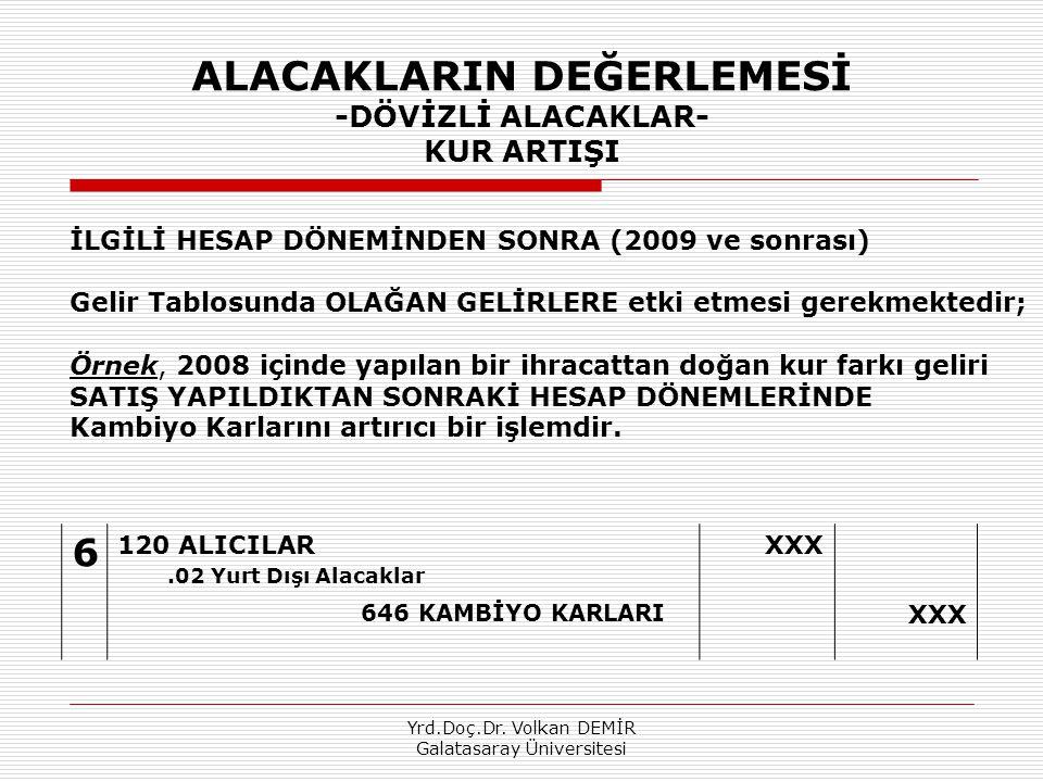 Yrd.Doç.Dr. Volkan DEMİR Galatasaray Üniversitesi ALACAKLARIN DEĞERLEMESİ -DÖVİZLİ ALACAKLAR- KUR ARTIŞI 6 120 ALICILAR.02 Yurt Dışı Alacaklar XXX 646