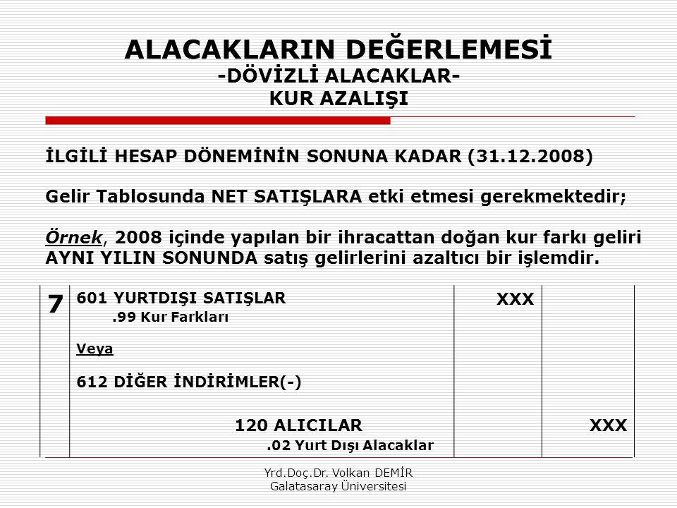 Yrd.Doç.Dr. Volkan DEMİR Galatasaray Üniversitesi ALACAKLARIN DEĞERLEMESİ -DÖVİZLİ ALACAKLAR- KUR AZALIŞI 7 601 YURTDIŞI SATIŞLAR.99 Kur Farkları Veya
