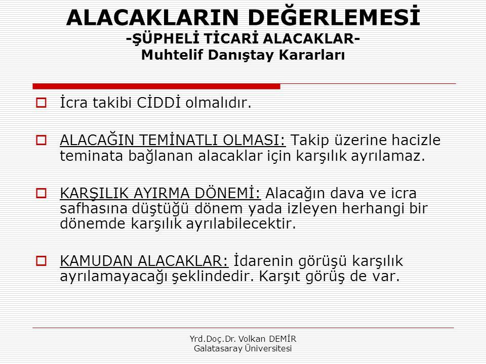 Yrd.Doç.Dr. Volkan DEMİR Galatasaray Üniversitesi ALACAKLARIN DEĞERLEMESİ -ŞÜPHELİ TİCARİ ALACAKLAR- Muhtelif Danıştay Kararları  İcra takibi CİDDİ o