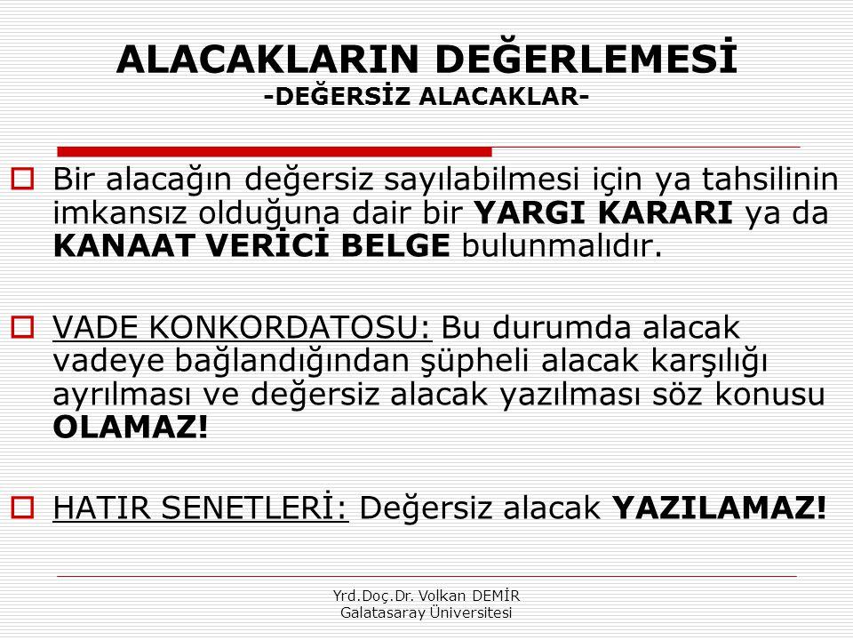 Yrd.Doç.Dr. Volkan DEMİR Galatasaray Üniversitesi ALACAKLARIN DEĞERLEMESİ -DEĞERSİZ ALACAKLAR-  Bir alacağın değersiz sayılabilmesi için ya tahsilini